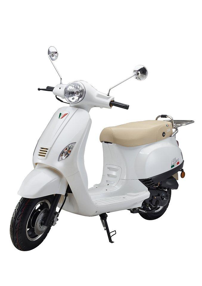Mofaroller »LUX 50«, 50 ccm 25 km/h, für 1 Person, weiß/braun in weiß/braun