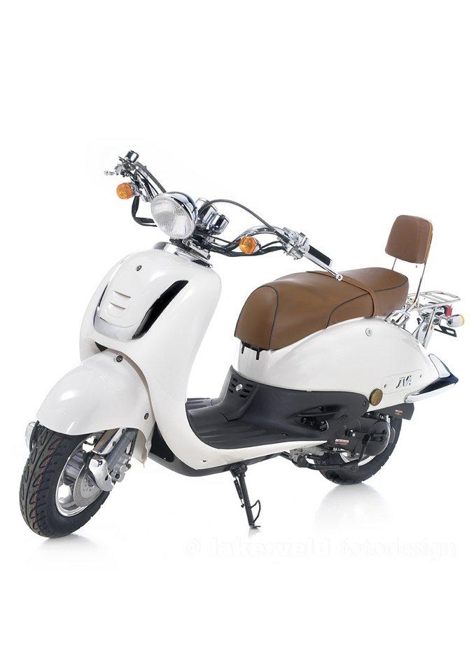 Retro-Mofaroller »RETRO ROMA«, 50 ccm 25 km/h, für 1 Person, weiß/braun in weiß/braun