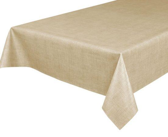 Beautex Tischdecke »Wachstuchtischdecke, Leinen beige, abwischbar Wachstuch Garten Tischdecke ECKIG RUND OVAL, Größe wählbar« (1-tlg)