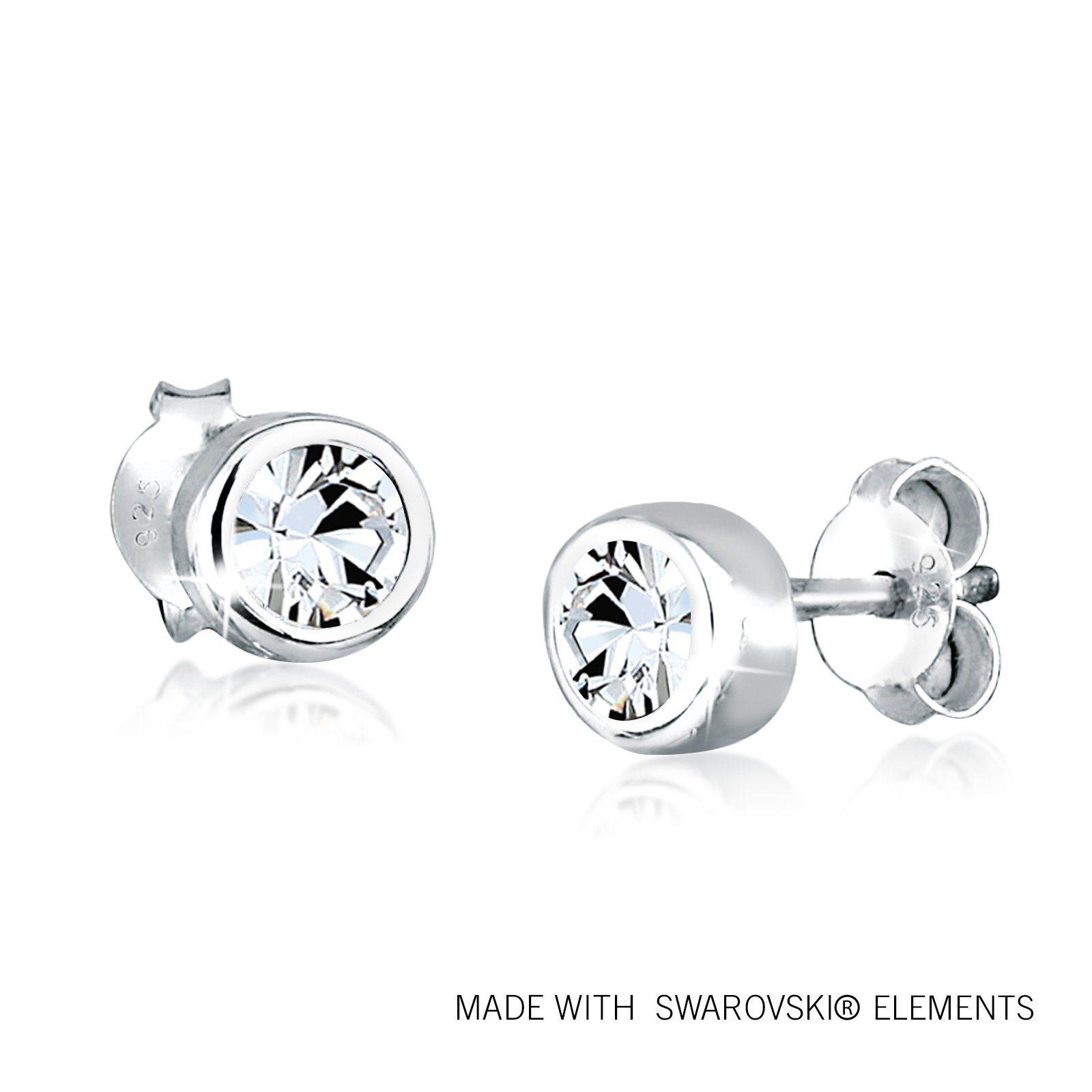 Elli Ohrringe »Klassisch Kreis Swarovski® Kristalle 925 Silber«