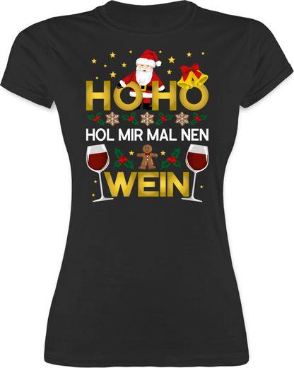 Shirtracer T-Shirt »Ho Ho Hol mir mal nen Wein - weiß - Weihnachten & Silvester - Damen Premium T-Shirt«
