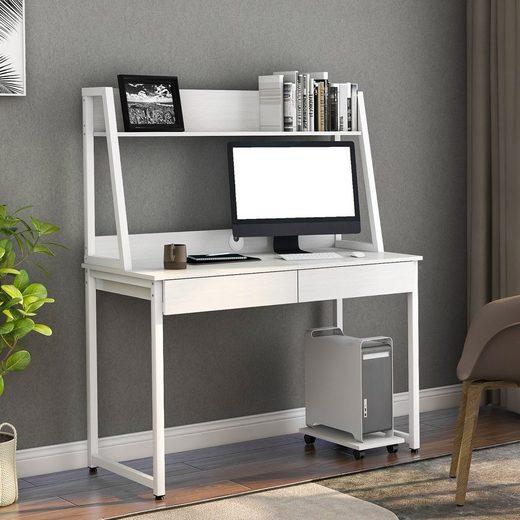 Merax Regal-Schreibtisch, Schreibtisch Holz Arbeitstisch Computer Tische Eckschreibtisch Bürotisch mit 2 schubladen, Computerhostregal und Ablagen