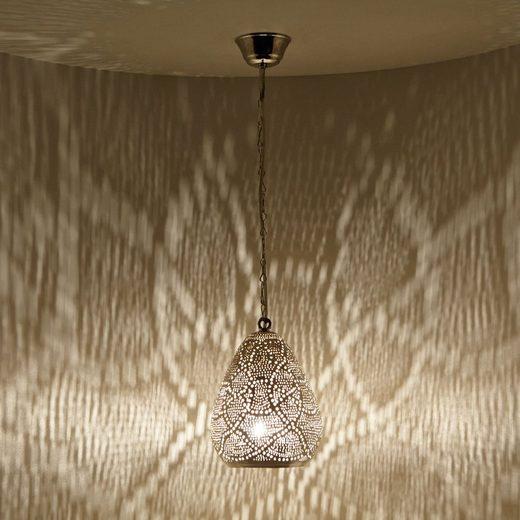 Casa Moro Hängeleuchte »Orientalische Lampe Saham Silber echt versilberte Messing-Lampe mit Fassung Kette & Baldachin, Kunsthandwerk aus Marokko, Prachtvolle Deckenleuchte wie aus 1001 Nacht«, Handmade, EL2200