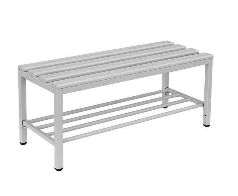 Steelboxx Sitzbank »Sitzbank mit Schuhrost, lichtgrau« (1-St), Stabiles 30 mm-Quadratrohr-Gestell