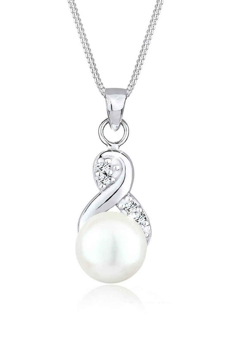 Elli Perlenkette »Infinity Perle Kristalle 925 Silber«