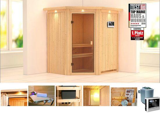 KONIFERA Sauna »Tilda«, 187x169x202 cm, 9 kW Ofen mit ext. Steuerung, mit Dachkranz