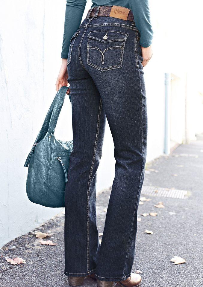 Cheer Bootcut-Jeans »Petra« mit bestickten Patten-Gesäßtaschen in darkblue