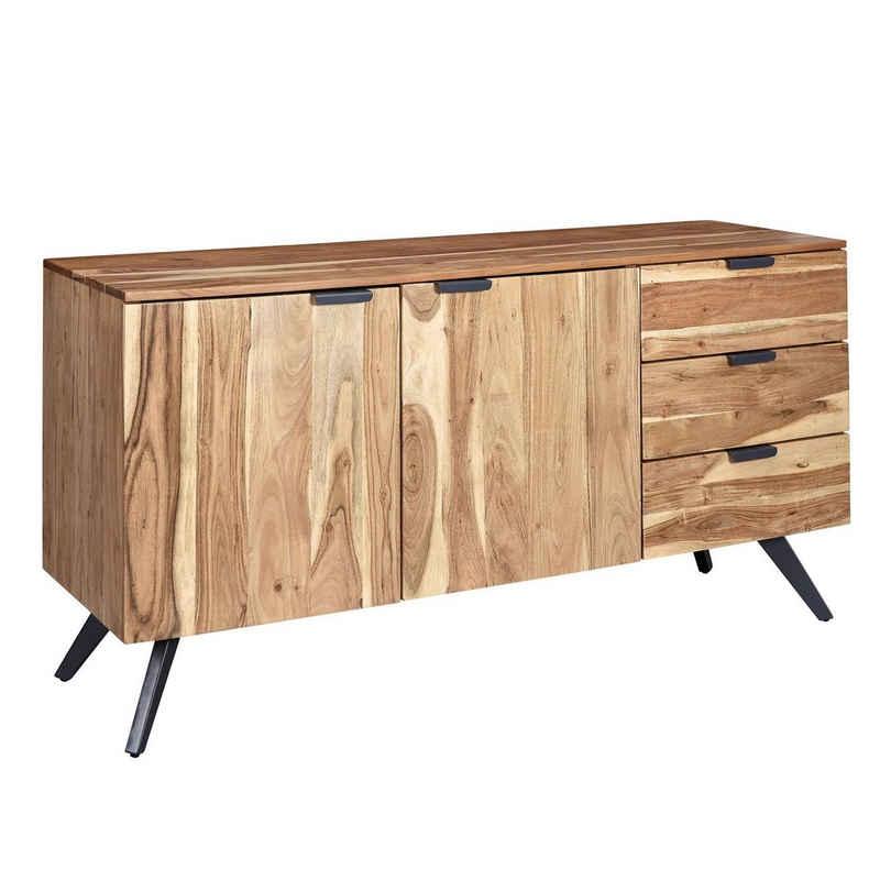 Wohnling Sideboard »WL6.153«, 145x75x45 cm Akazie Massivholz Anrichte Modern Flurschrank, Kommode mit 3 Schubladen & 2 Türen, Schubladenkommode Massiv Echtholz