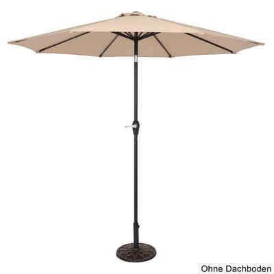 Masbekte Sonnenschirm, Gartenschirm, Marktschirm, Wasserabweisend Kurbelschirm mit 8 Rippen Gestell Knickbar Terrassenschirm 2.7m