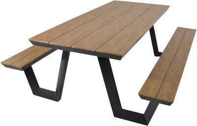 Lesli Living Bierzeltgarnitur »Picknick-Set Bank mit Tisch Bierzeltgarnitur Sitzgruppe rechteckig 200cm Aluminium Polywood«