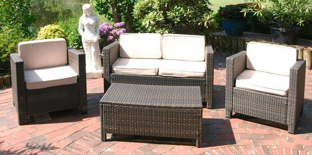 Lounge-Set ROM Stahl/Kunststoffgeflecht coffee Garden Pleasure
