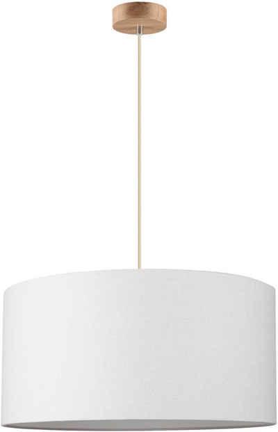 andas Hängeleuchte »GJOVIK«, Hängelampe mit hochwertigem Textilschirm Ø 50 cm, Baldachin aus Eiche Massiv, Naturprodukt, nachhaltig FSC®-zertifiziert, Made in Europe.