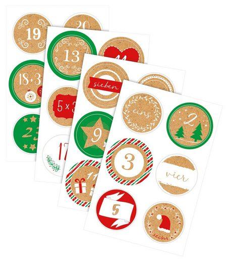 URSUS Deko-Buchstaben »Sticker Adventszahlen«, 24 Stück