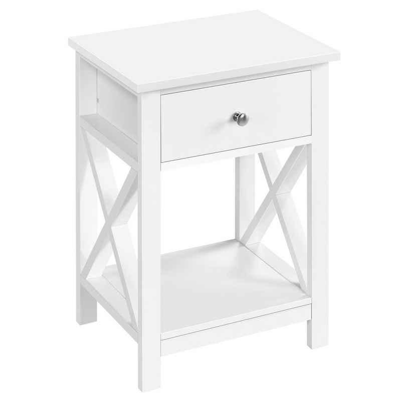Yaheetech Nachttisch, Beistelltisch mit Schublade und Ablage, Wohnzimmer, Schlafzimmer, einfacher Aufbau, platzsparend, Nordisch-Design, Weiß