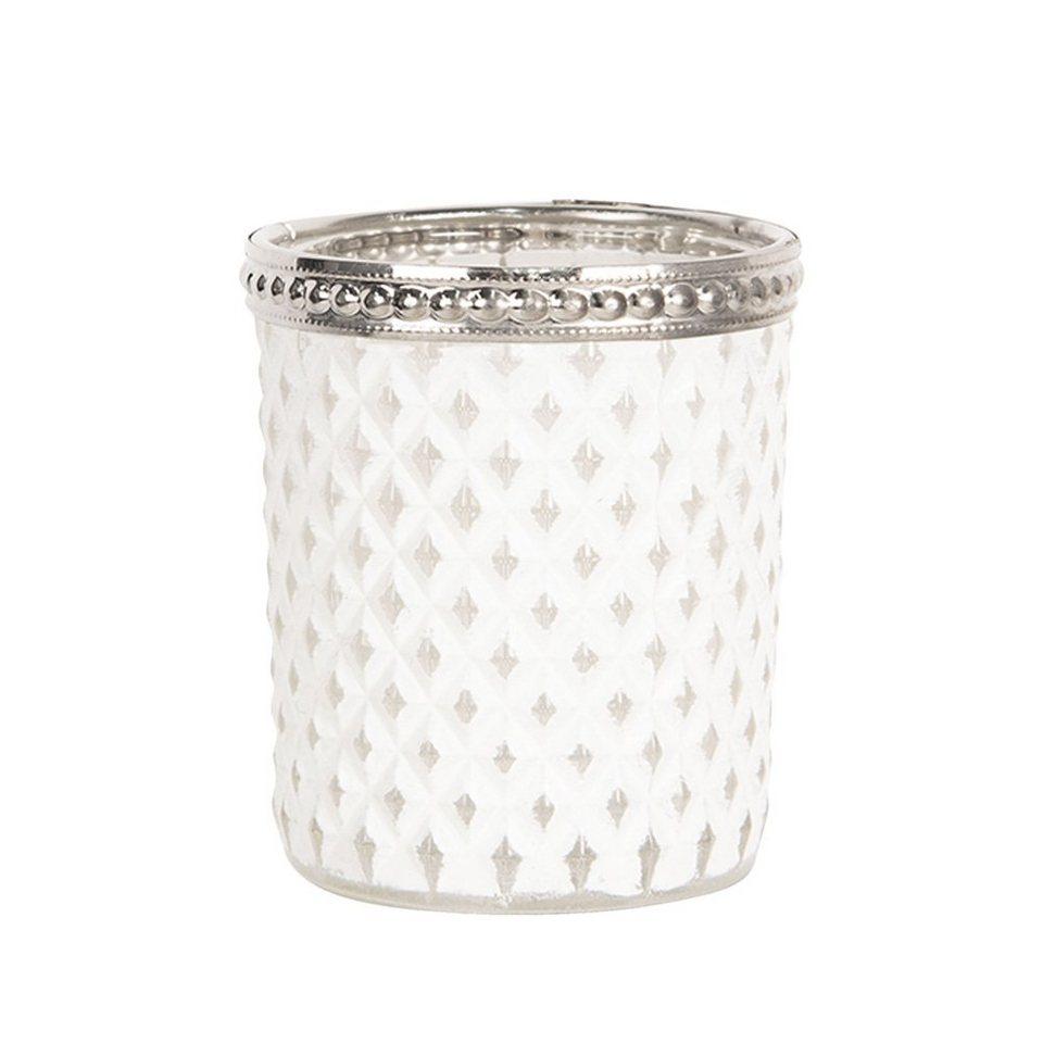 Clayre /& Eef Teelichthalter Votive weiss Bauernsilber mit Henkel