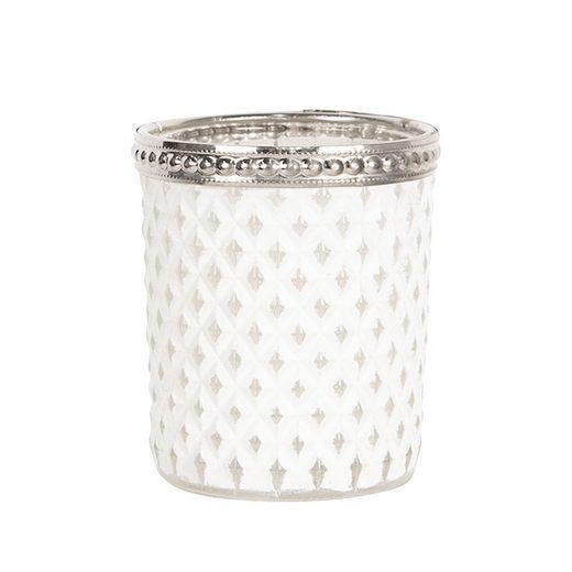 Clayre & Eef Teelichthalter »Teelichthalter GENTLY LIGHT weiß silber Teelichtglas mit Metallrand Hampton Deko«
