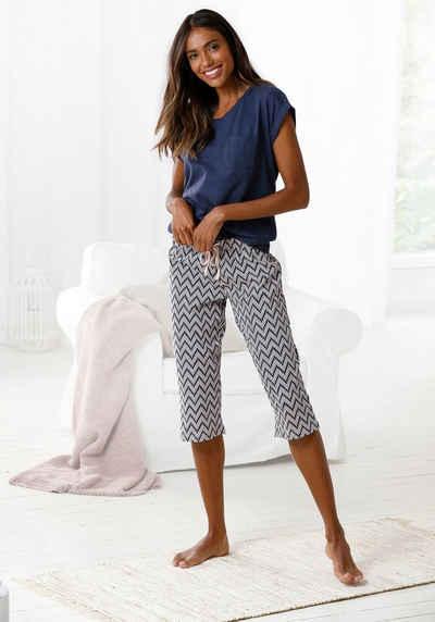 Vivance Dreams Capri-Pyjama mit gemusterter Schlafhose