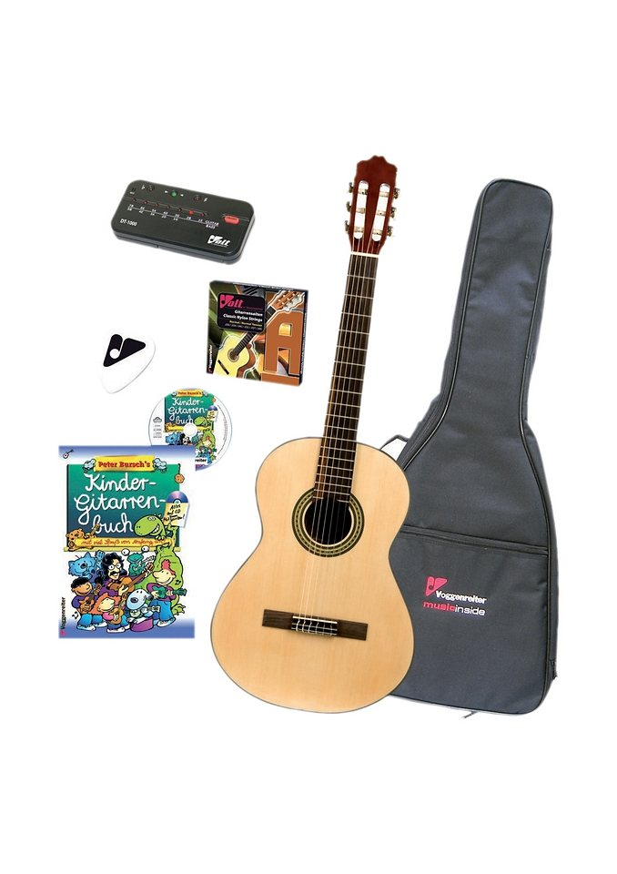 Set: Kindergitarre, Voggenreiter in natur