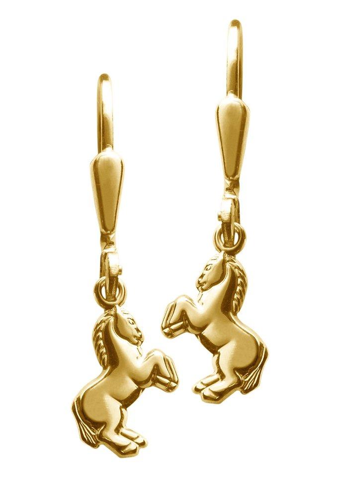 firetti Ohrschmuck: Paar Ohrhänger »Pferd« in Silber 925 vergoldet
