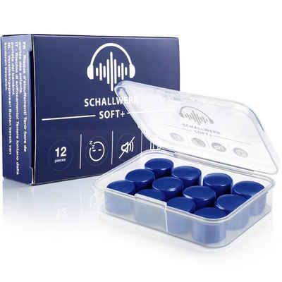 Schallwerk Gehörschutzstöpsel »SCHALLWERK® Soft+ 12 Silikon Ohrenstöpsel – optimale Unterstützung als Schlafgehörschutz – weiche Ohrenstöpsel zum Schlafen Silikon – Geräuschunterdrückung durch Ohrenstöpsel Silikon«