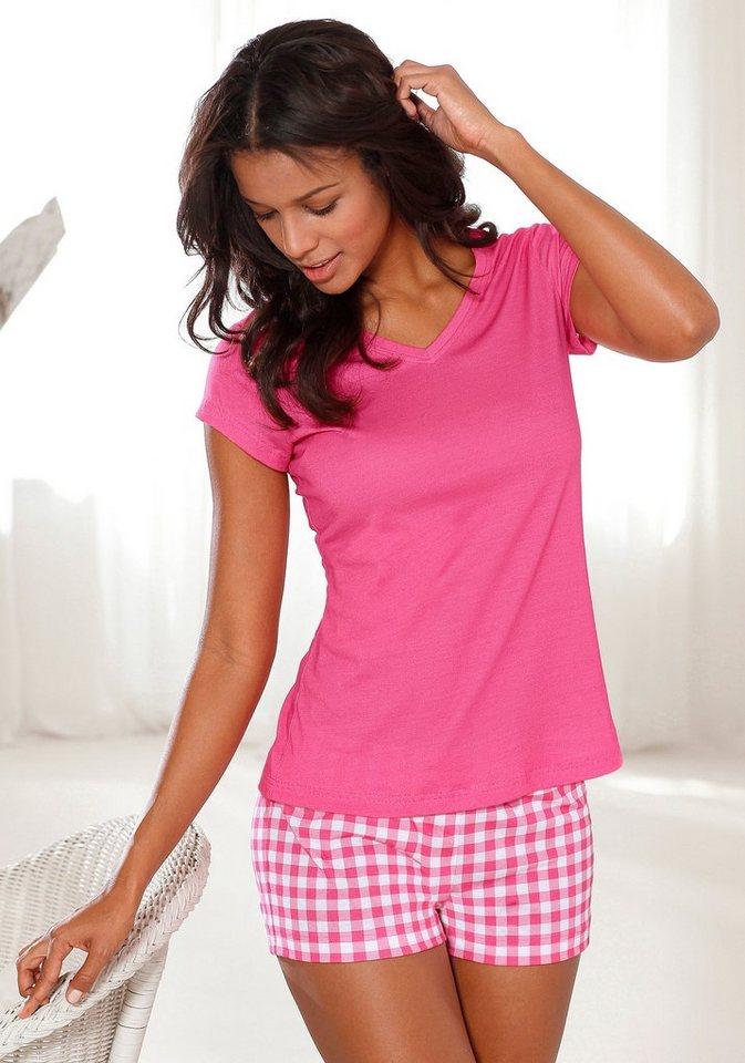 H.I.S Shorty mit Shorts im Vichykaro & Basic T-Shirt in pink kariert