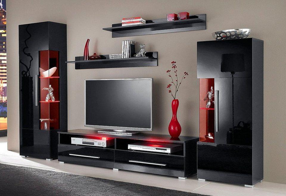 wohnwand wei hochglanz otto. Black Bedroom Furniture Sets. Home Design Ideas