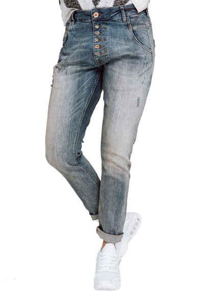 Zhrill Boyfriend-Jeans »AMY« Ankle-Jeans mit sichtbarer Knopfleiste