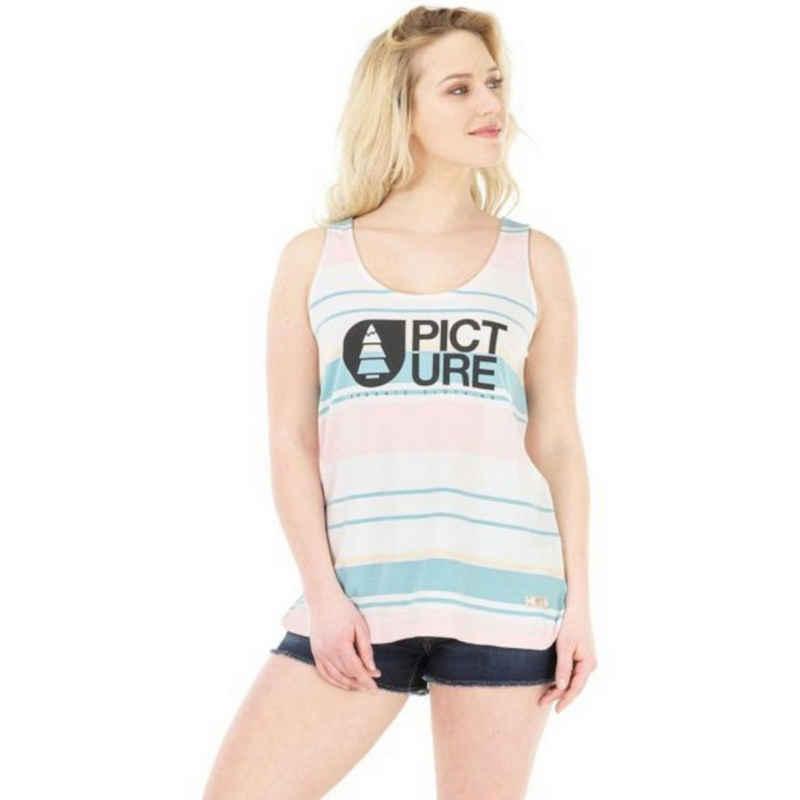 Picture Tanktop »Picture Basement Pale Blush Tank-Top gestreiftes Damen Sommer-Shirt lang geschnitten Rundhals-Shirt Weiß«