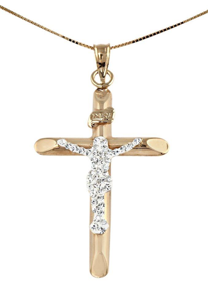 firetti Halsschmuck: Halskette »Kreuz« in Venezianerkettengliederung mit Zirkonia in goldfarben