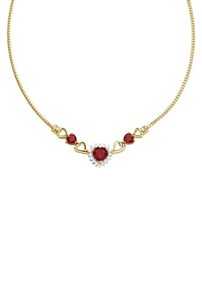 Vivance Jewels Halsschmuck: Halskette / Collier »Herz« mit Granat und Zirkonia | Schmuck > Halsketten > Herzketten | Vivance jewels