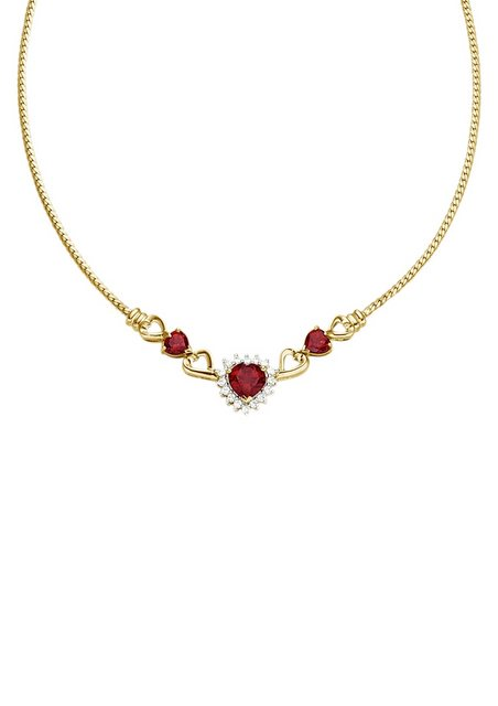 Vivance Jewels Halsschmuck: Halskette / Collier »Herz« mit Granat und Zirkonia | Schmuck > Halsketten > Herzketten | Rot | Vivance jewels