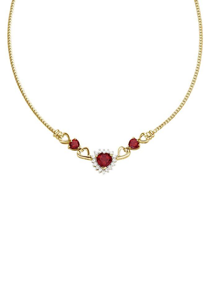Vivance Jewels Halsschmuck: Halskette / Collier »Herz« mit Granat und Zirkonia