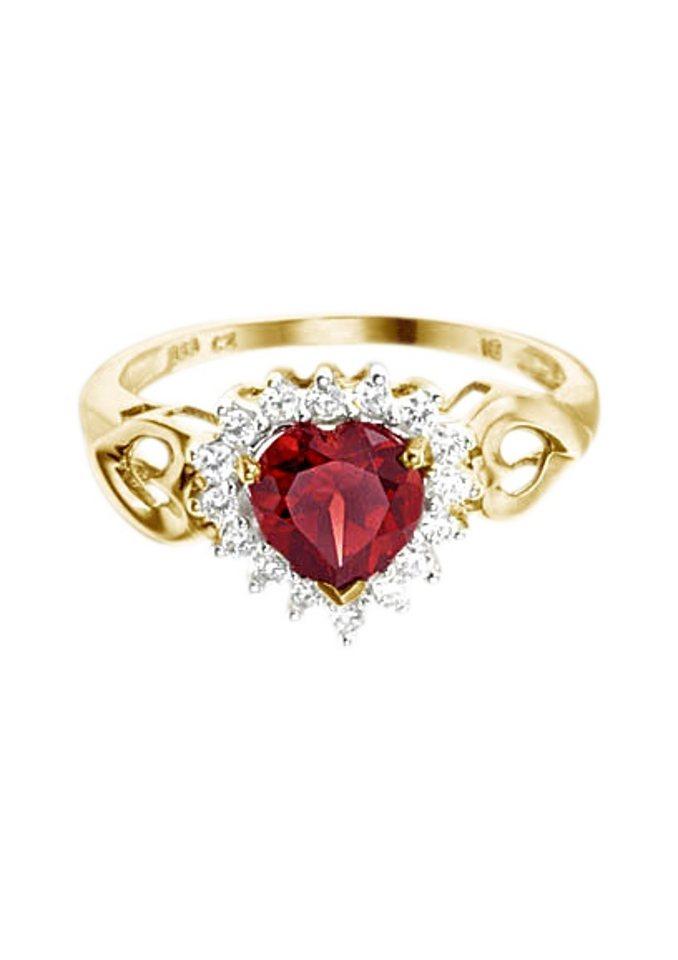Vivance Jewels Ring »Herz« mit Granat und Zirkonia in rot