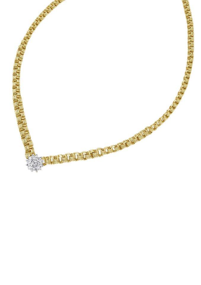 firetti Halsschmuck: Collier/Kette in Fantasiekettengliederung mit funkelnden Diamanten in goldfarben