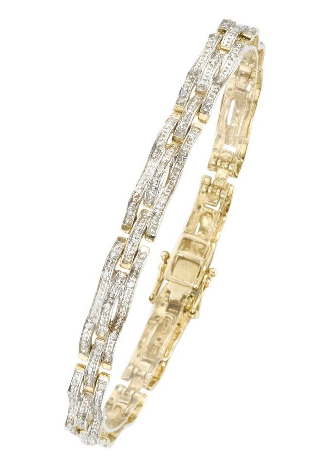 firetti Armschmuck: Armband in Fantasiekettengliederung mit Diamanten in goldfarben