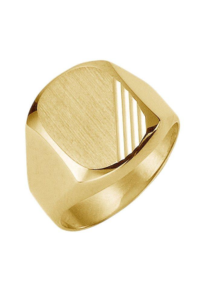 Ring / Siegelring im Verlauf mit Diamantschnitt in goldfarben