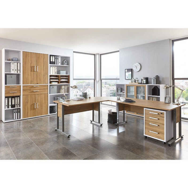 Lomadox Büromöbel-Set »COLUMBUS-10«, (Spar-Set, 13-tlg), Büro-Set in Brilliantweiß matt & Alteiche Nb. - Stellmaß Schränke B/H/T: 408/221/40cm