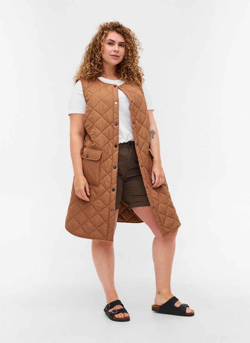 Zizzi Longweste Große Größen Damen Steppweste mit Taschen und Knöpfen