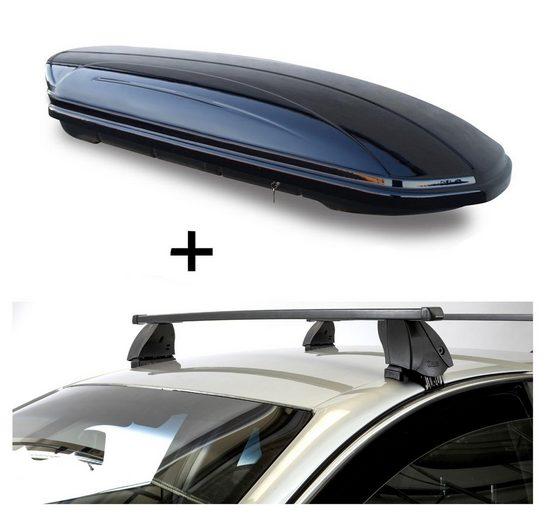 VDP Fahrradträger, Dachbox VDPMAA580 580 Liter abschließbar schwarz + Dachträger K1 MEDIUM kompatibel mit Tata Vista (5Türer) ab 10