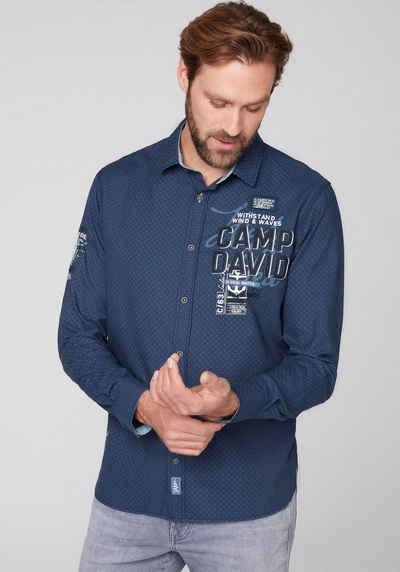 CAMP DAVID Langarmhemd dezent gemustert