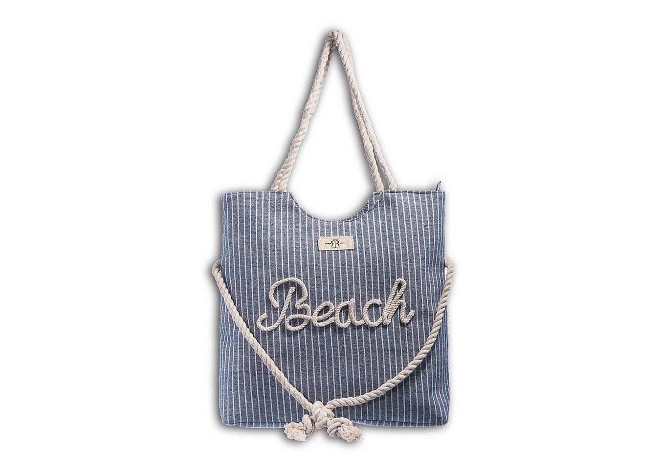 robin ruth -  Schultertasche »OTG2094B  Strandtasche Canvas blau beige« (Strandtasche), Strandtasche, Schultertasche Baumwolle, Polyester, blau, beige ca. 40,5cm x ca. 47cm