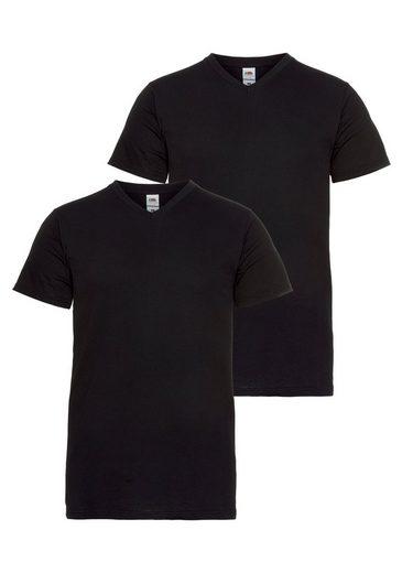 Fruit of the Loom T-Shirt (Packung, 2-tlg) mit V-Ausschnitt