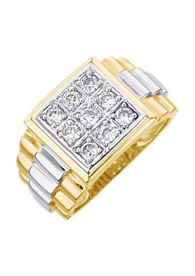 Ring / Siegelring mit Zirkonia in goldfarben