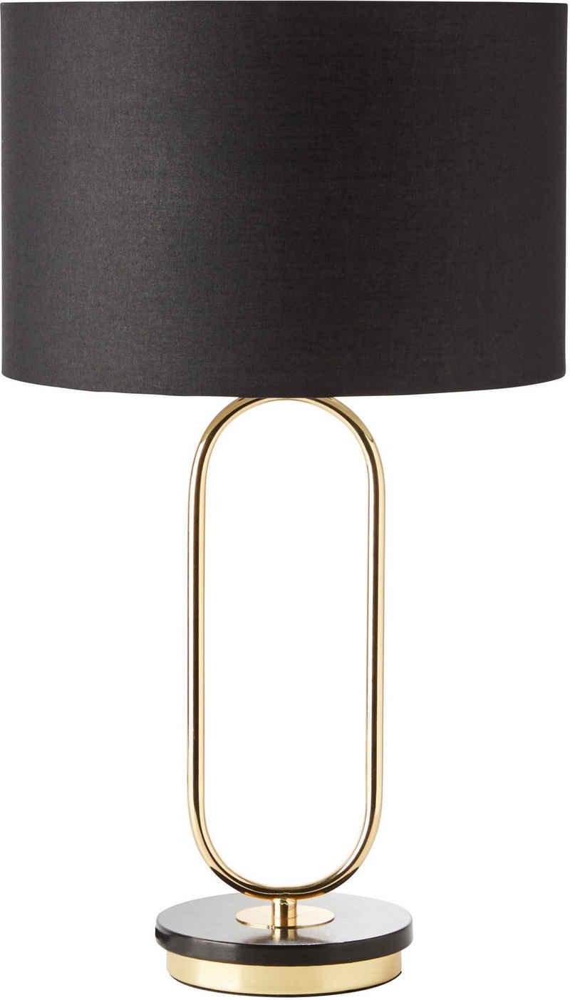 Guido Maria Kretschmer Home&Living Tischleuchte »Zeria«, Fuß der Tischlampe in Marmoroptik, schwarzer Stoff-Schirm