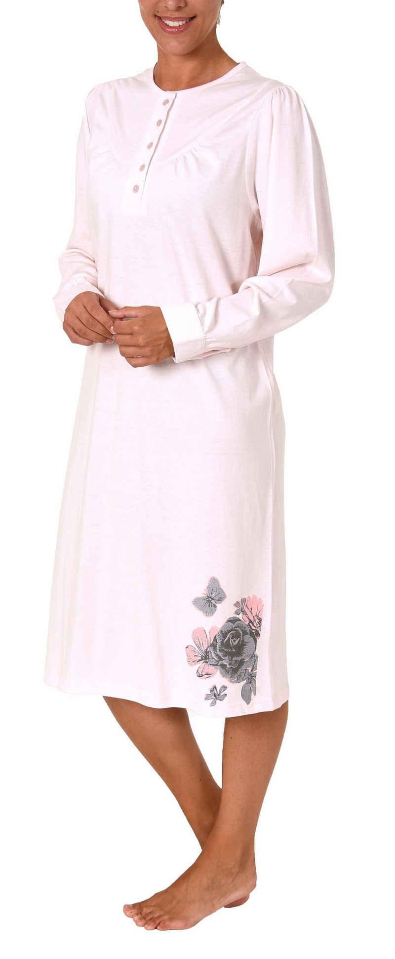 Normann Nachthemd »Damen Nachthemd langarm mit 105 cm Länge und Kopfleiste am Hals - 281 210 740«