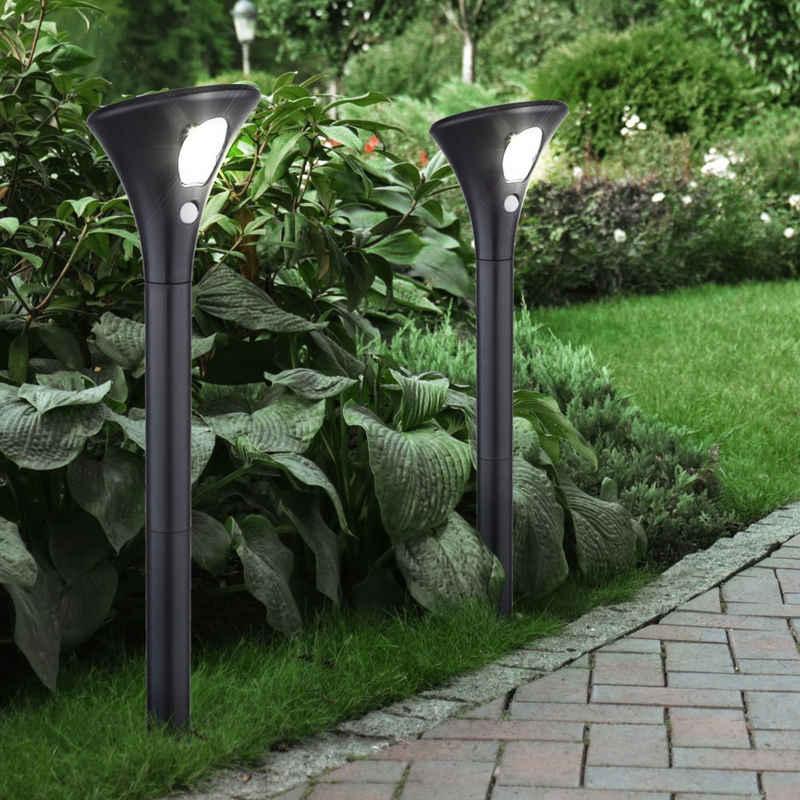 etc-shop Gartenleuchte, Solar Gartenleuchte mit Bewegungsmelder Wegeleuchte Solarleuchte, 2 Dämmerungsmodi Höhe variabel Erdspieß, LED kaltweiß, DxH 10,6 x 62 cm, Garten, 2er Set