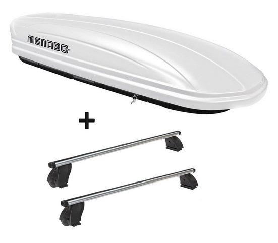 VDP Fahrradträger, Dachbox VDPMAA320 320 Liter abschließbar weiß + Dachträger K1 PRO Aluminium kompatibel mit Renault Kangoo Express (Mk1) (5Türer) 98-07