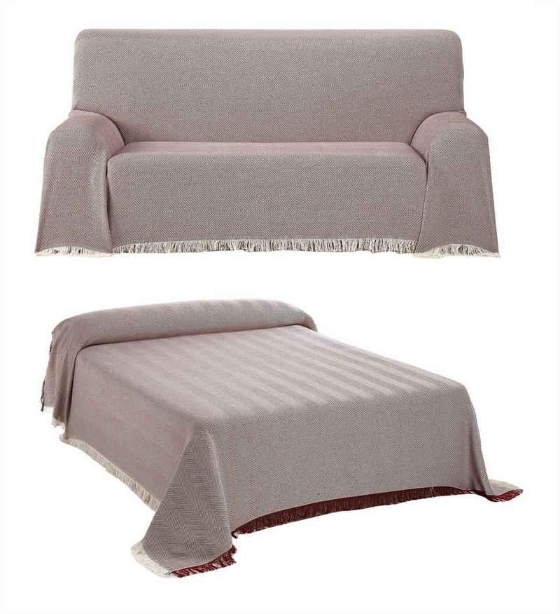 Tagesdecke »Tagesdecke - Wohnzimmer Decke aus Baumwolle in 180x260 oder 230x260 - Praktischer Überwurf als Sofadecke oder Couchdecke - Hochwertiger Bettüberwurf«, Beautex