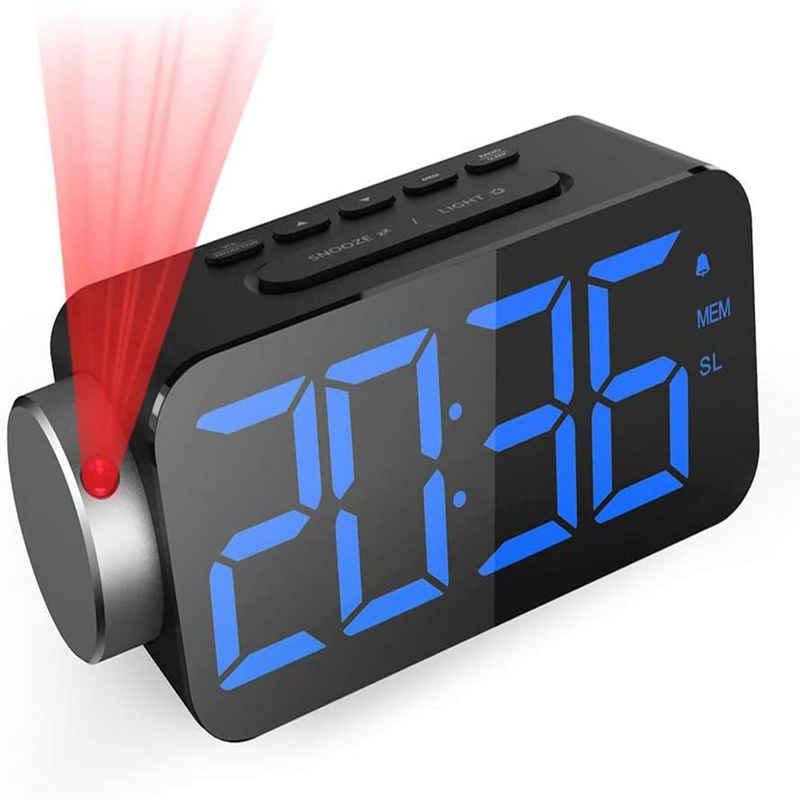 Elegear Projektionswecker GlobaLink Projektionswecker [6.5 Zoll LED-Anzeige] Digital Wecker Projektionsuhr mit Snooze-Funktion FM Radio USB-Anschluss (Blau) und 3 Helligkeit Rote Projektion Ziffer 180° Projektionsanzeige