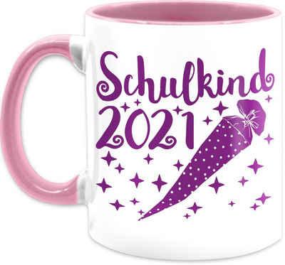 Shirtracer Tasse »Schulkind 2021 mit Schultüte und Sternchen lila - Tassen Kinder - Tasse zweifarbig«, Keramik